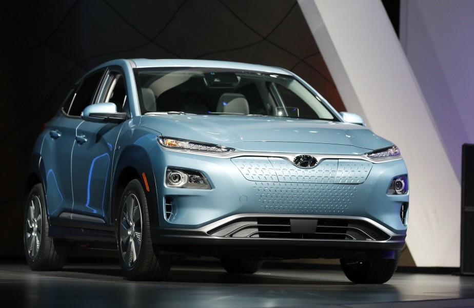 Le Hyundai Kona Électrique 2019 au Salon de l'auto de New York en mars 2018. (REUTERS)
