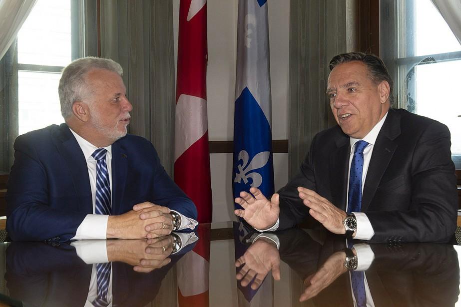 Le premier ministre sortant Philippe Couillard a rencontré... (Photo Jacques Boissinot, PC)