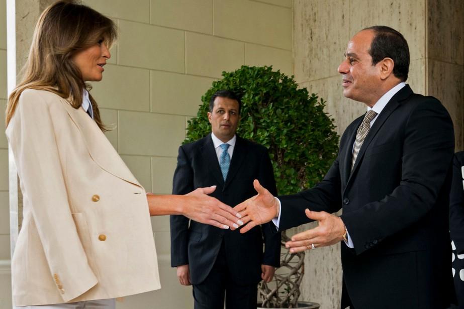 Melania Trump a rencontré samedi le président égyptien... (PHOTO DOUG MILLS, AFP)