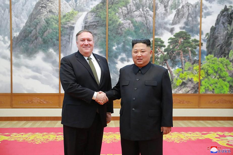 Le secrétaire d'État américain Mike Pompeo a rencontré... (Photo Korea News Service via AP)