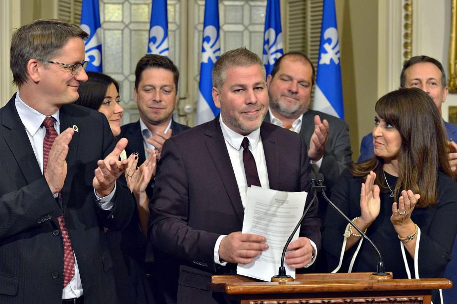 Lors de son point de presse à Québec,... (PHOTO LE SOLEIL)