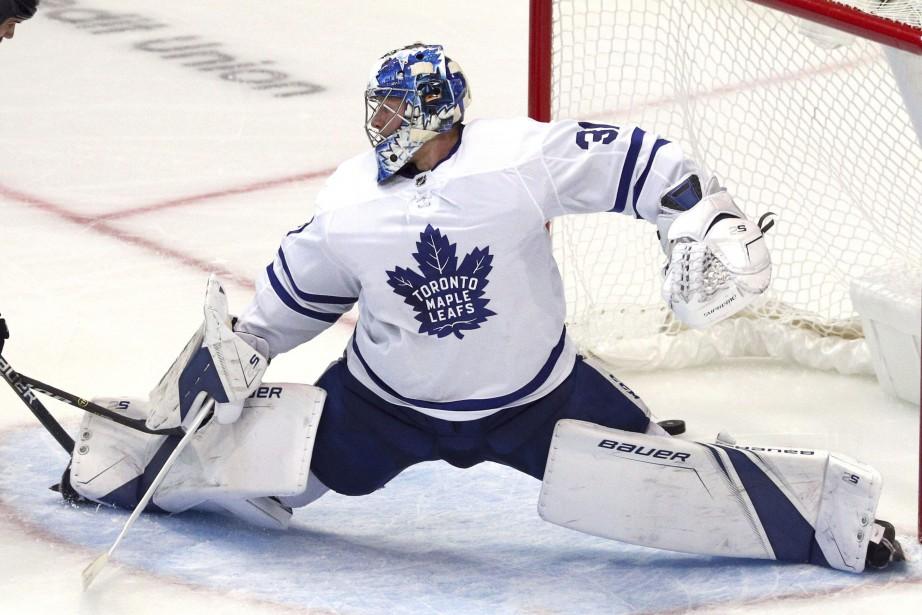 Le gardien des Maple Leafs de Toronto, Frederik... (Photo Richard W. Rodriguez, AP)