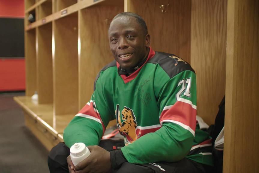 Benard Azegere, capitaine des Kenya Ice Lions... (PHOTO SARAH McCONNELL, FOURNIE PAR TIM HORTONS)