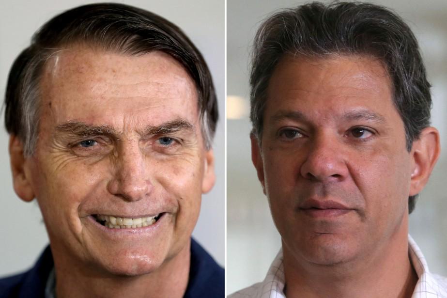 Jair Bolsonaro et Fernando Haddad... (Photos Ricardo Moraes et Amanda Perobelli, Reuters)