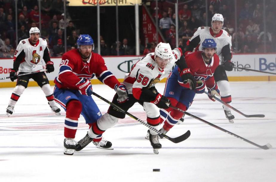 Le défenseur Maxime Lajoie (58), des Sénateurs d'Ottawa,... (PhotoJean-Yves Ahern, USA TODAY Sports)