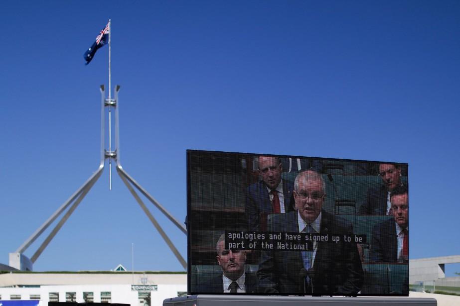 L'allocution du premier ministre Morrison a été diffusée... (PHOTO AFP)