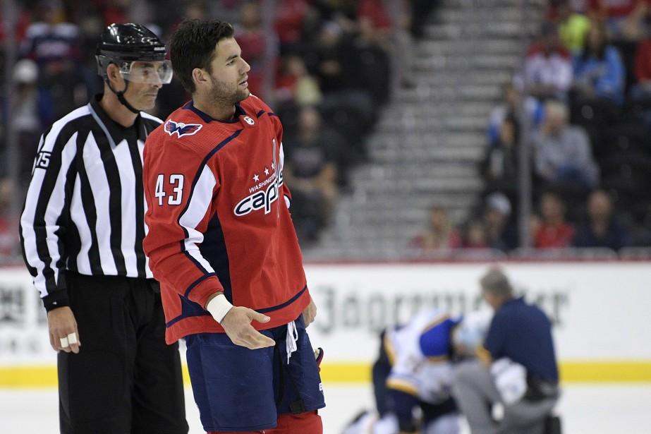 Tom Wilson a été suspendu pour 20 matchs... (Photo Nick Wass, Associated Press)