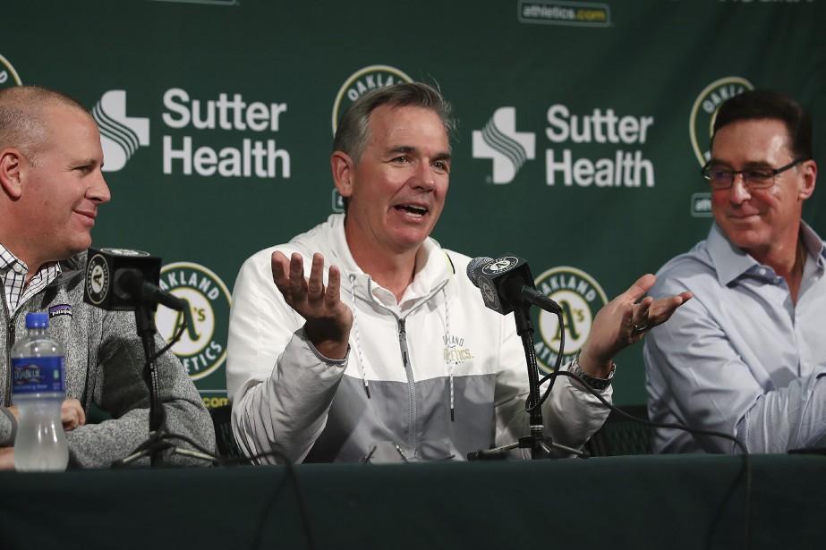 Le directeur général des Athletics d'Oakland, David Forst,... (Photo Ben Margot, Associated Press)