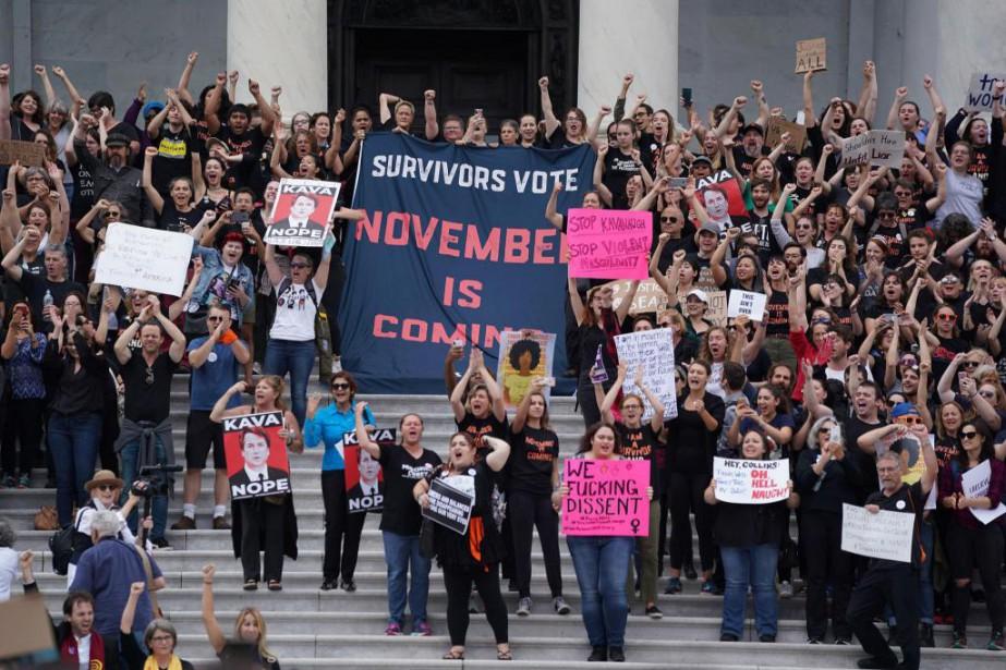 Manifestation à Washington contre la nomination dujugeBrett Kavanaugh... (PHOTO CHRIS KLEPONIS, ARCHIVES AGENCE FRANCE-PRESSE)