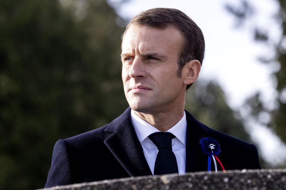 Emmanuel Macron se trouvait mardi à Verdun, dans... (Photo ETIENNE LAURENT, AFP)