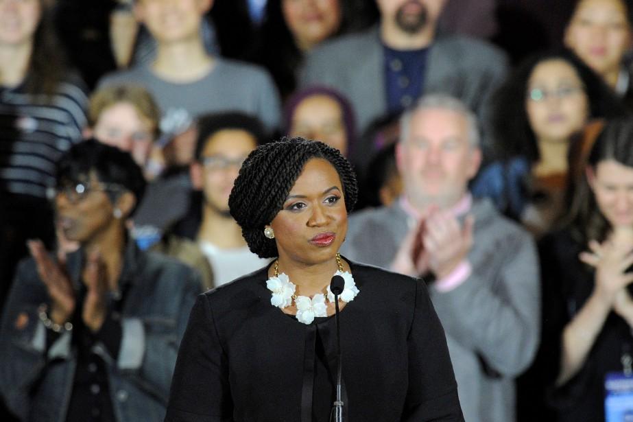 La représentante Ayanna Pressley a remporté ses élections... (Photo JOSEPH PREZIOSO, AFP)