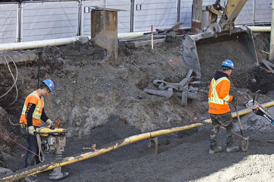 Les travaux sur la Plaza St-Hubert ont débuté... (Photo Patrick Sanfaçon, archives La Presse)