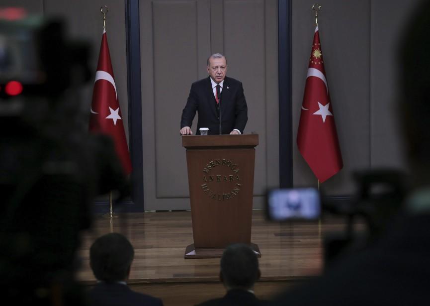 Le président turc Recep Tayyip Erdogan... (PHOTO FOURNIE PAR LA PRÉSIDENCE TURQUE VIA ASSOCIATED PRESS)