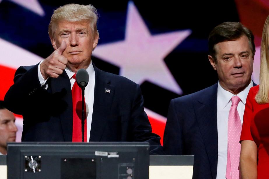 Donald Trump aux côtés de Paul Manafort lors... (Photo Rick Wilking, REUTERS)