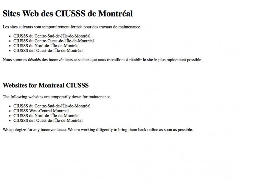 Capture d'écran du message d'erreur affiché lors de... (Capture d'écran ciusss-centresudmtl.gouv.qc.ca)