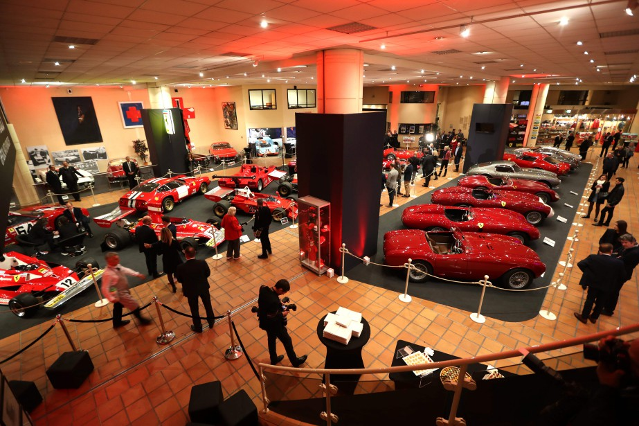 Ferrari cars are displayed during the inauguration of...