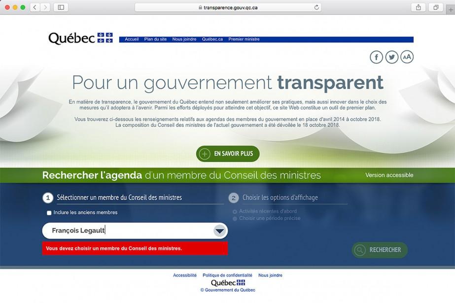 Le site transparence.gouv.qc.ca, qui a été mis sur... (Capture d'écran du site www.transparence.gouv.qc.ca)