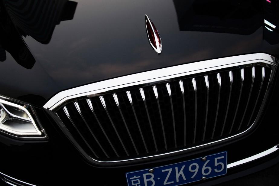 La calandre d'uneHongqi. Le président Xi a instruit les cadres de grandes compagnies d'État et privées de ne pas rouler en voitures étrangères. (AFP)