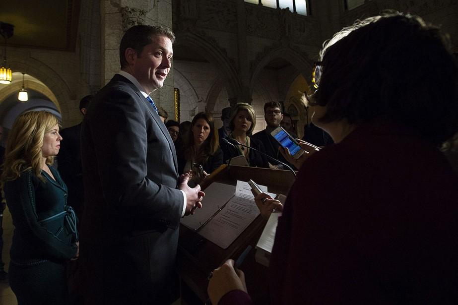 Le chef conservateur Andrew Scheer lors d'une période... (Photo Adrian Wyld, archives PC)