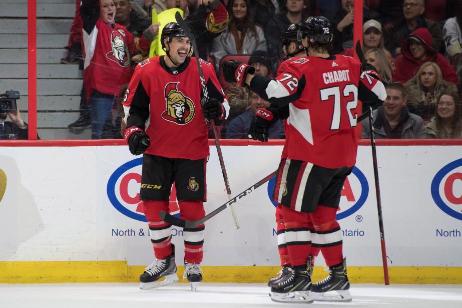 Cody Ceci et Thomas Chabot... (Photo Marc DesRosiers, USA TODAY Sports)