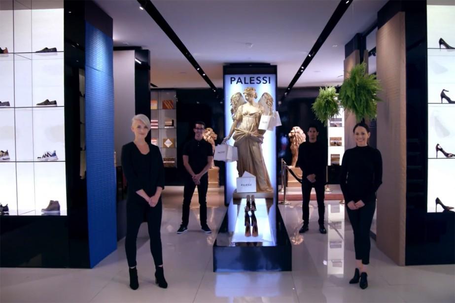 La fausse boutique de chaussures Palessi, où des... (Capture d'image d'une vidéo produite par Payless)
