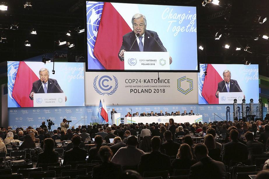 Le secrétaire général de l'ONU Antonio Guterres apparaît... (Photo Czarek Sokolowski, archives AP)