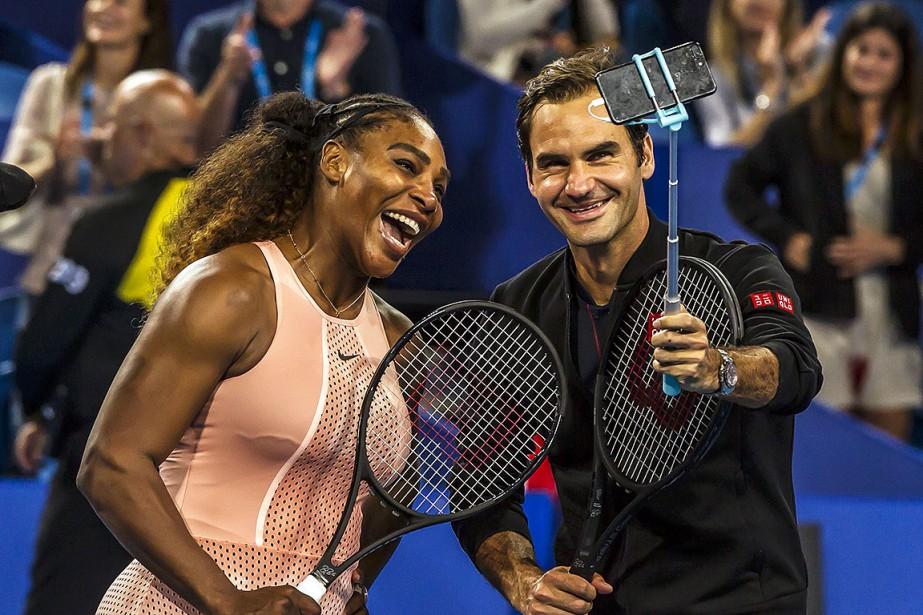 Serena Williams et Roger Federer, le temps d'un... (Photo TONY ASHBY, AFP)
