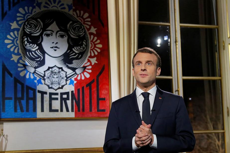 Emmanuel Macron, durant ses voeux du Nouvel An.... (Photo POOL, REUTERS)