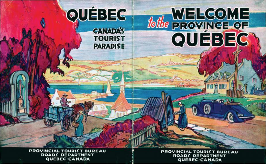 Cette brochure destinée aux automobilistes, parue entre 1926 et 1933, illustre parfaitement toutes les rencontres folkloriques que recherchait le touriste de l'époque:clochers, paysans, nature, femmes boulangères sur le bord de la route, etc. (Illustration fournie par Maude-Emmanuelle Lambert, tirée de sa collection personnelle)