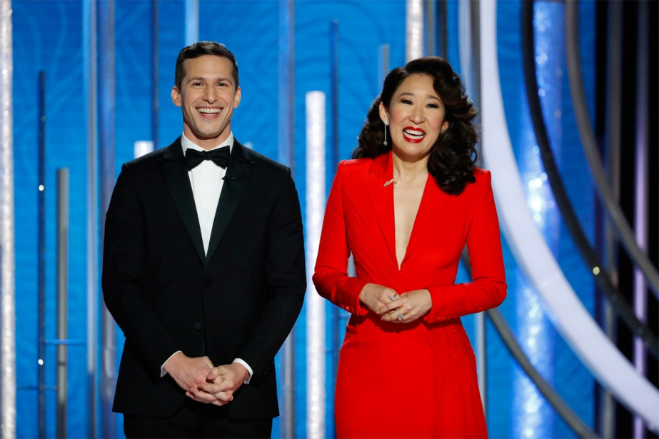 Les animateurs Andy Samberg et Sandra Oh... (photo Paul Drinkwater, associated press)