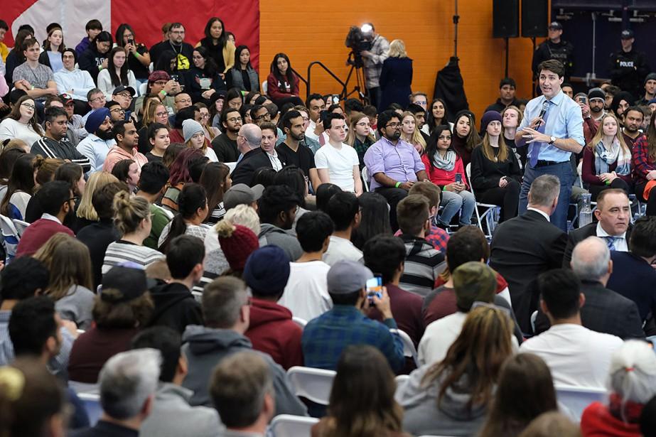 Justin Trudeau, lors d'une assemblée publique tenue à... (Photo KimAnderson, PC)