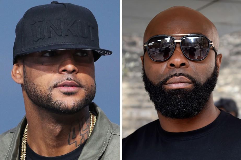 Les rappeurs français Booba (à gauche) et Kaaris... (Photo DOMINIQUE FAGET et LOIC VENANCE, AFP)