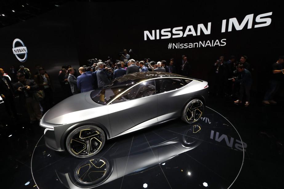 Le prototype Nissan IMs tout électrique lors de son dévoilement au Salon de l'auto de Détroit. (AP)
