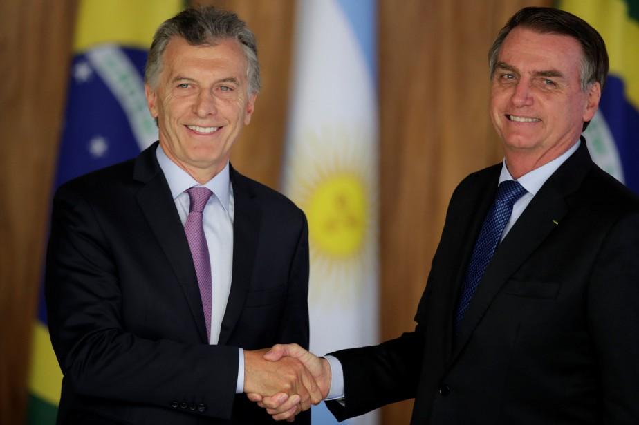 Mauricio Macri et Jair Bolsonaro.... (Photo UESLEI MARCELINO, REUTERS)