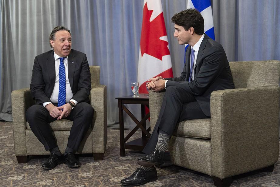 François Legault et Justin Trudeau lors de leur... (Photo Paul Chiasson, PC)