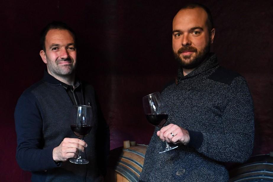 Benjamin Coulet et Valentin Goeminne, viticulteurs près de... (Photo PASCAL GUYOT, AFP)