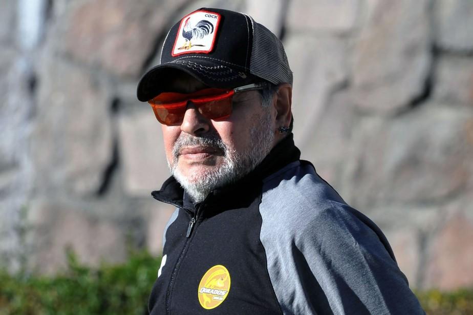 Diego Maradona, qui fait l'objet d'une série consacrée... (Photo MARIO VAZQUEZ, AFP)