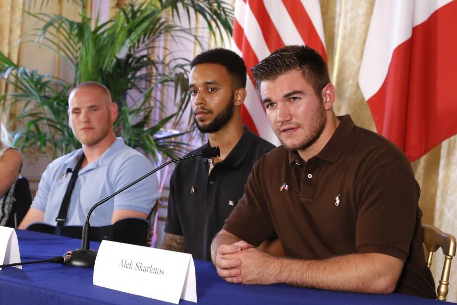 De gauche à droite : Spencer Stone, Anthony... (PHOTO AFP)