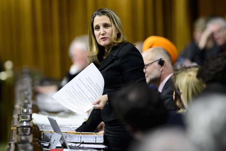 La ministre canadienne des Affaires étrangères, Chrystia Freeland... (Photo Sean Kilpatrick, archives LA PRESSE CANADIENNE)