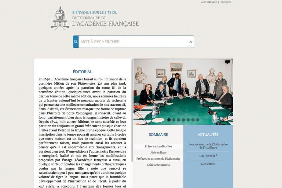Accessible sur le site www.dictionnaire-academie.fr, le nouveau portail... (Capture d'écran)