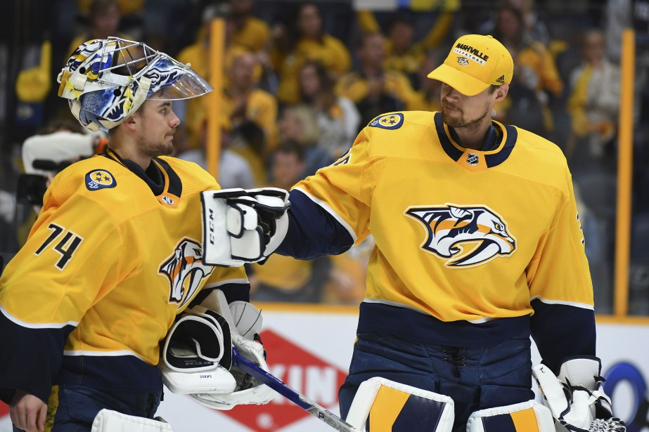 Juuse Saros et Pekka Rinne... (Photo Christopher Hanewinckel, archives USA Today Sports)