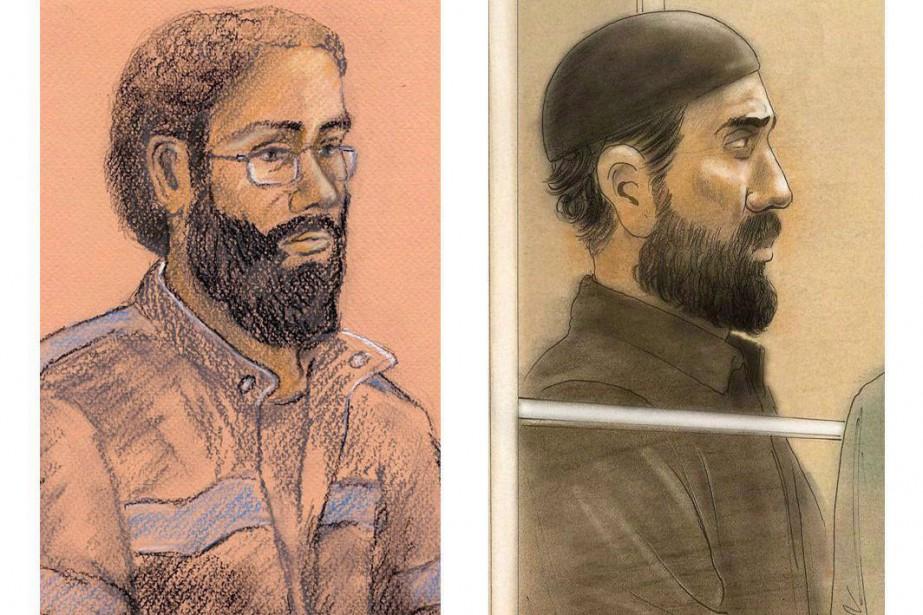 Les dessins de cour représentant Chiheb Esseghaier et... (Photo Tammy Hoy, John Mantha, archives La Presse canadienne)