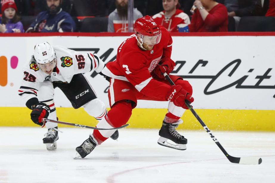 Nick Jensen (3) des Red Wings de Detroit... (Photo Paul Sancya, AP)