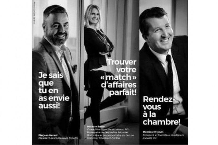 La publicité montre deux hommes souriants en veston... (PHOTO LA PRESSE CANADIENNE)
