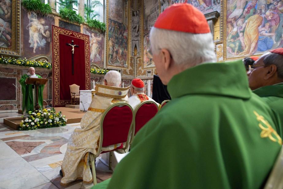 Le pape François a prononcé un discours lors... (PHOTO FOURNIE PAR VATICAN MEDIA VIA AFP)