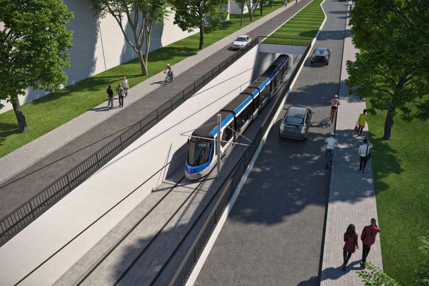 Le tramway sera propulsé à l'électricité au moyen... (IMAGE FOURNIE PAR LA VILLE DE QUÉBEC)