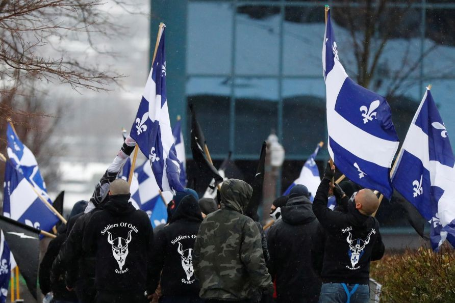 Manifestation d'Atalante et des Soldiers of Odin, à... (PHOTO MATHIEU BÉLANGER, ARCHIVES REUTERS)