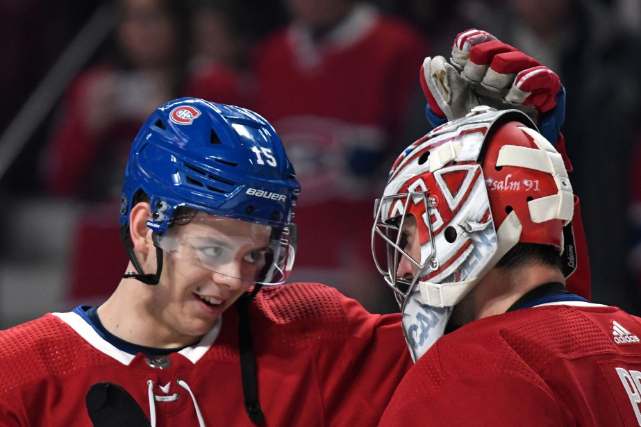 Jesperi Kotkaniemi et Carey Price... (PHOTO ARCHIVES LA PRESSE)