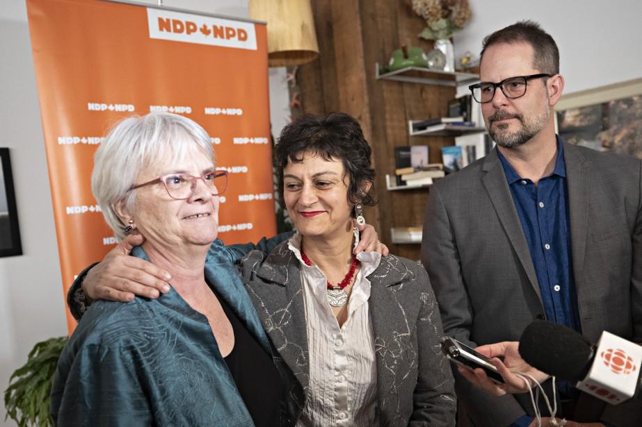 Nima Machouf était entourée de Hélène Laverdière et... (PHOTO PATRICK SANFAÇON, LA PRESSE)