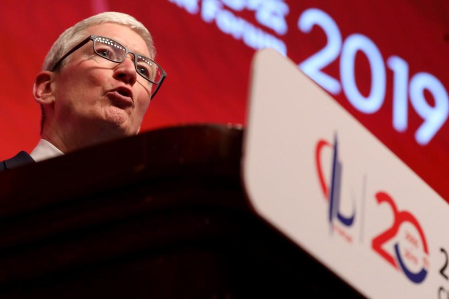 Tim Cook s'est exprimé à un sommet économique... (PHOTO NG HAN GUAN, AP)